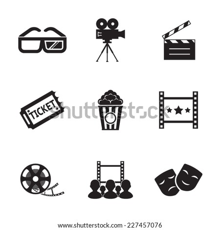 Cinema and Movie icon set modern trendy silhouette isolated vector illustration