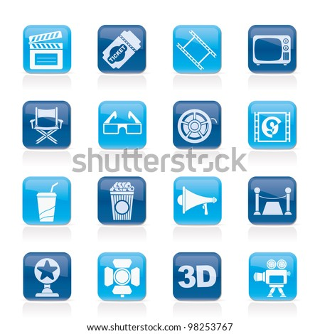 Cinema and Movie icons- vector icon set - stock vector