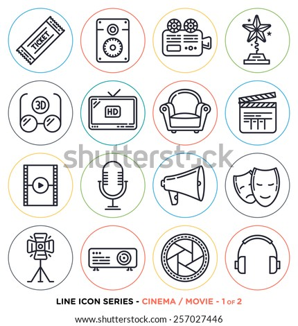 Cinema and movie line icons set.
