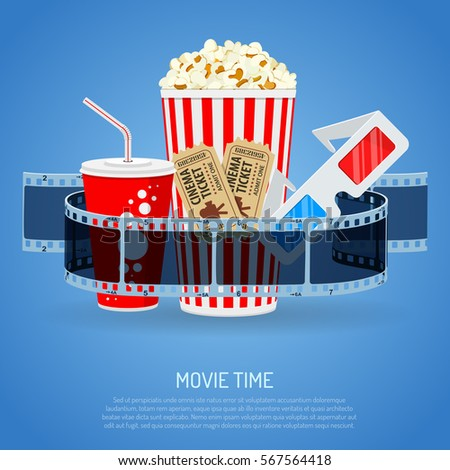 Cinema and Movie time concept with flat icons transparent film, popcorn, drink in paper cup, 3d glasses and tickets, isolated vector illustration