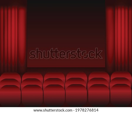 Cinema and red chairs.Red theater curtain and stage.Interior room.Empty room.Concept of concert, show and performance.Vector illustration for advertisement or poster.Wallpaper or texture. ストックフォト ©