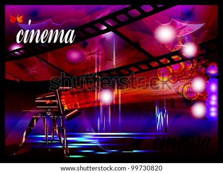 Cinema and spotlights. Vector template of the poster. Card for cinema. Vector
