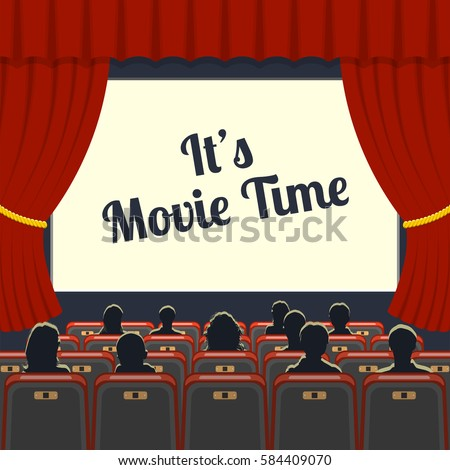 cinema auditorium flat icons with seats and audience and blank screen, vector illustration