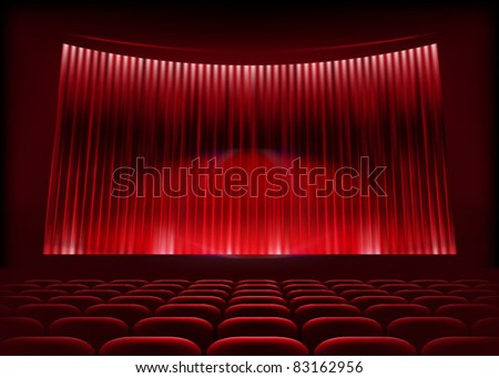 Cinema auditorium with stage curtain. Vector illustration. - stock vector