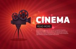 Cinema background or banner. Movie flyer or ticket template