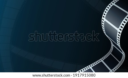 Cinema background. Realistic film strip in perspective. 3D isometric film strip. Design cinema movie festival poster. Template for festival modern cinema with place for text. Film industry concept.