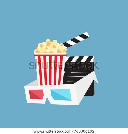 Cinema background with cinema icons set in flat design style, vector illustration. Popcorn, soda with straw, tickets, filmstrip etc.