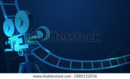 Cinema background with movie projector and film strip. 3d isometric style. Movie festival poster with place for text. Art design filmstrip template for advertisement, poster, brochure, banner, flyer.
