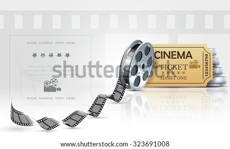 Cinema background with ticket and cinema films.