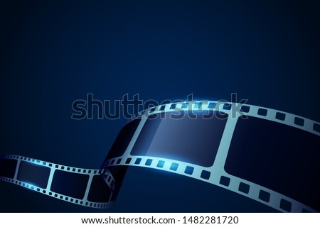Cinema blue background with film reel. Realistic 3d film strip in perspective. Design template film for poster, brochure, tickets,flyer, leaflet or your idea. Movie time background.Vector illustration