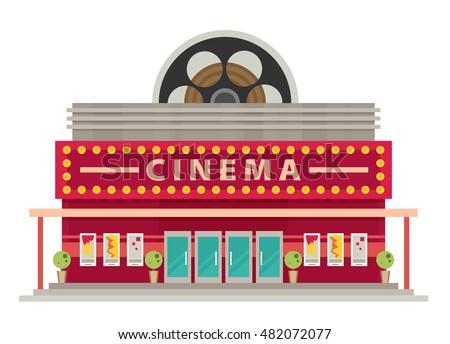 cinema building flat style....