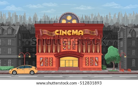 Cinema building vector illustration on background of city. Movie theater and houses exterior view in flat style.