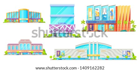 Cinema buildings isolated facade exteriors. Vector modern movie theater with entrance and parking zone, cars and trees. City entertainment center architecture, public structure, art-house architecture