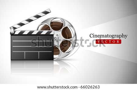 cinema clapper and video film tape on disc vector illustration