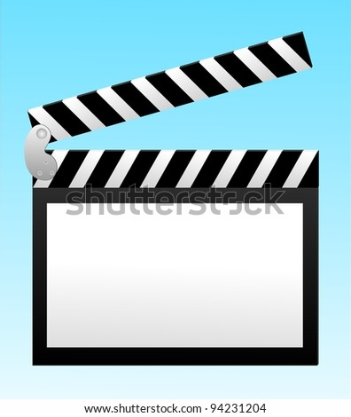 cinema clapper with blank field over blue background