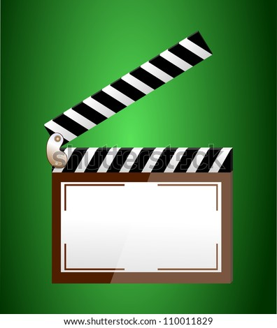 cinema clapper with blank field over green background