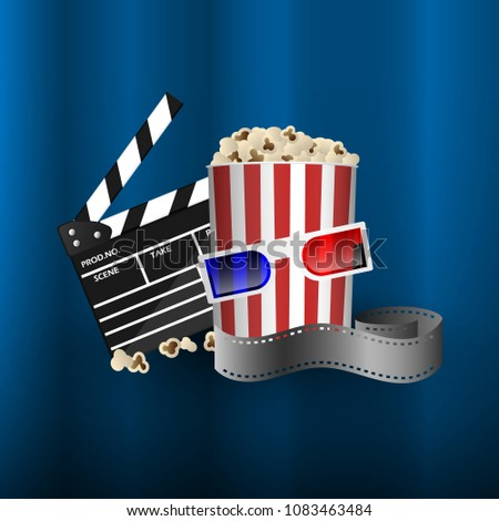 Cinema concept element, film strip, popcorn bucket, clapperboard and 3D glasses, vector illustration