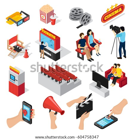 Cinema 3d isometric set of isolated ticket office seats people popcorn and smartphone ticketing app icons  vector illustration