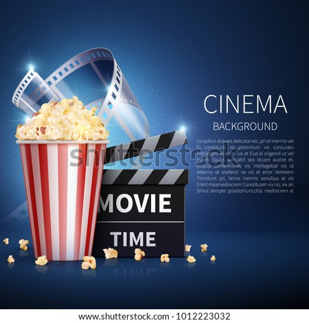 Cinema 3d movie vector background with popcorn and vintage film. Retro cinema poster. Banner cinema and movie film illustration