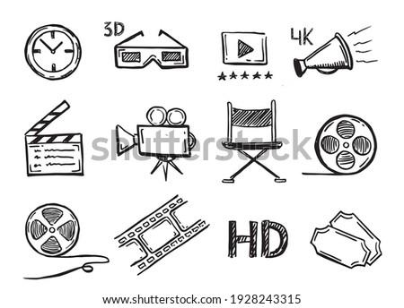 Cinema decorative symbols set,  vector hand drawn.