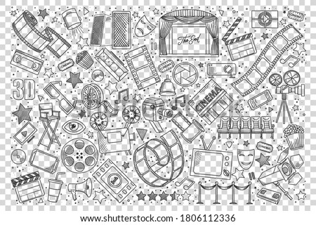 Cinema doodle set. Collection of hand drawn sketches design elements templates patterns movie theater film and pop corn. Art entertainment active lifestyle recreation and cinematography illustration.