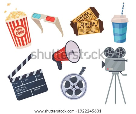 Cinema elements set. Tickets, popcorn bucket, megaphone, 3D glasses, clapperboard, montage tape, video camera. Vector illustration for cinema theater, film industry, show, movie making concept