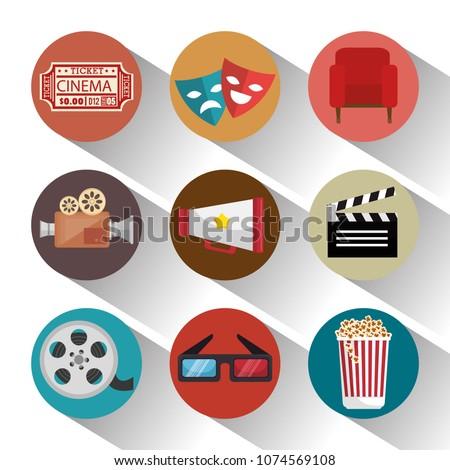 cinema entertainment set icons