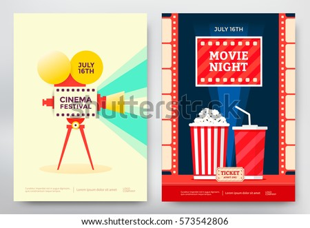Cinema festival and movie night poster template. Vector illustration