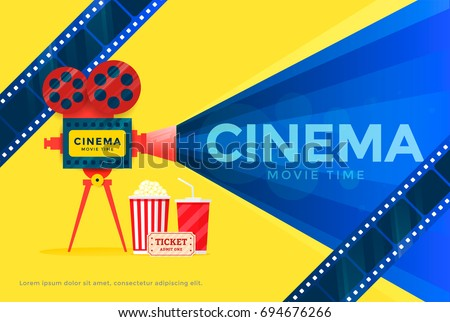 Cinema Festival Banner Movie Time Poster Template With Camera Vector Illustration