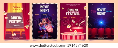 Cinema festival, movie night cartoon flyers set. Young woman with pop corn bucket sitting in dark theater hall front of screen watching interesting film. premiere promo posters Vector illustration,