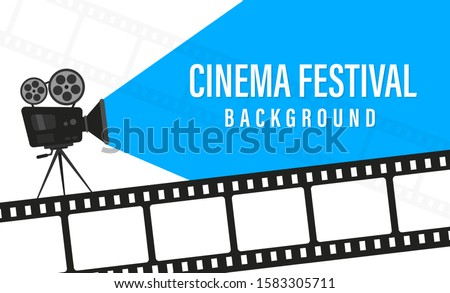 Cinema festival poster with movie camera. Movie time concept. Cinema festival poster template. Concept of the time of the film. Movie background with words movie time. Place for your text.