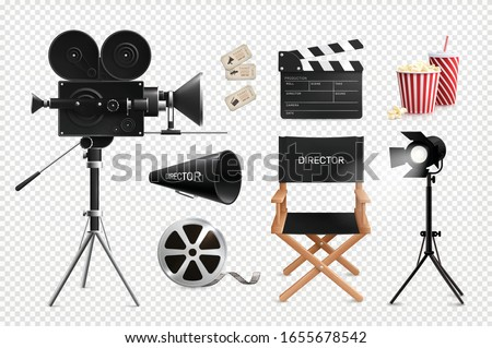 Cinema film production realistic set of isolated images on transparent background with camera reel and chair vector illustration