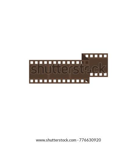 Cinema film strip icon flat symbol. Isolated vector illustration of film negative sign concept for your web site mobile app logo UI design.