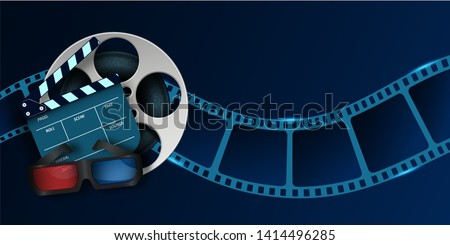 Cinema Film Strip wave, 3d cinema glasses, film reel and clapper board isolated on blue background. 3d movie flyer or poster with place for your text. Template design cinematography concept.Vector EPS