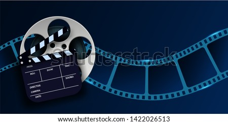 Cinema film strip wave, film reel and clapper board isolated on blue background. 3d movie flyer or poster with place for your text. Template design cinematography concept of film industry. Vector EPS