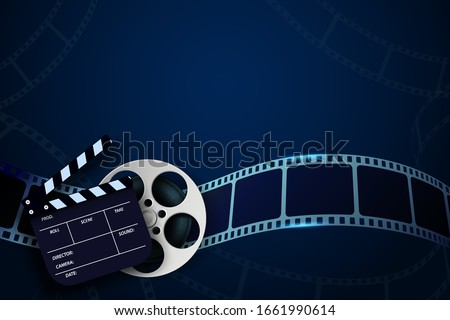 Cinema Film Strip wave, film reel and clapper board isolated on blue background. 3d movie flyer or poster with place for your text. Template design cinematography concept of film industry. Vector