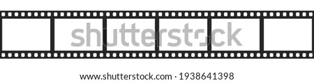 Cinema filmstrip roll on white background. Blank negative film. 35mm film slide frame. Cinema or photo frames. Long, retro film strip frame. Vector illustration