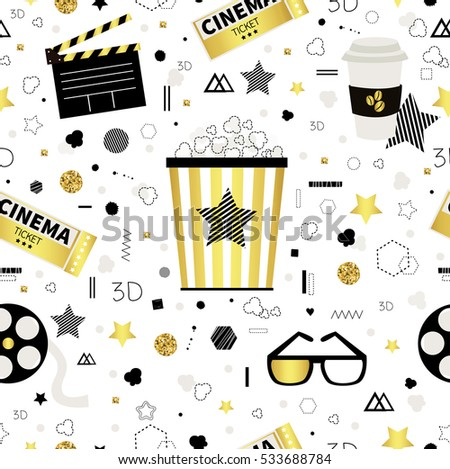 cinema golden seamless pattern