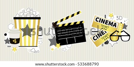 cinema golden vector set in