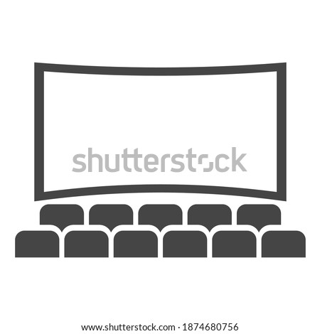 Cinema hall icon, movie theater entertainment screen. Performance theatre stage. Vector cinema hall illustration on white background