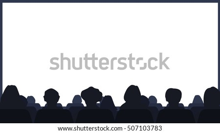 Cinema Hall with the audience and the screen. Background Vector illustration