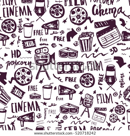 Cinema hand drawn seamless pattern with lettering. Movie making film symbols collection. Cinematography design items: camera, film tape, popcorn, chair, stars.