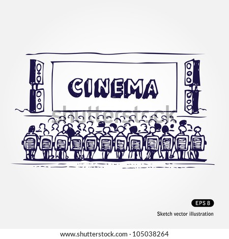 Cinema. Hand drawn sketch illustration isolated on white background