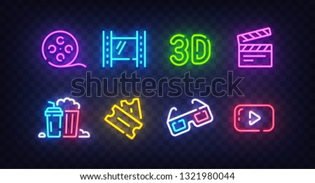 Cinema icon set isolated. Movie neon sign. Film, Popcorn, 3D glasses, Tickets, 4k film and Play icon. Vector Illustration