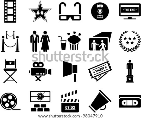 Cinema icons - stock vector
