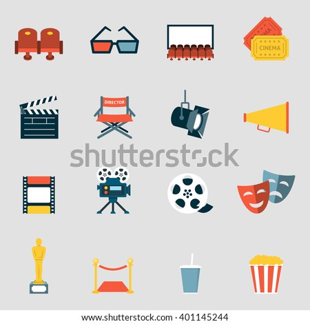 Cinema icons flat. Making film and watch movie in the cinema icons collection