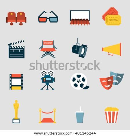 cinema icons flat making film