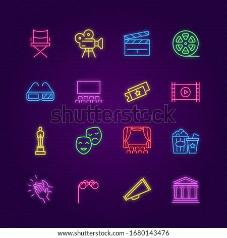 Cinema icons. Neon entertaiment colorful symbols. Led outdoor signs or web design led light elements. Movie and theater vector set stock photo