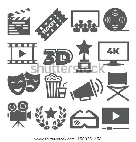 Cinema icons on white background