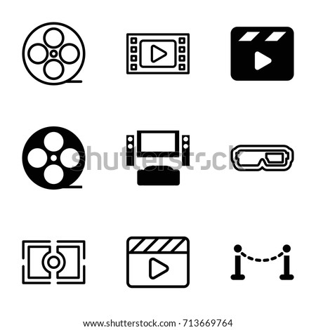 Cinema icons set. set of 9 cinema filled and outline icons such as fence, movie clapper, movie tape, camera focus, tv system